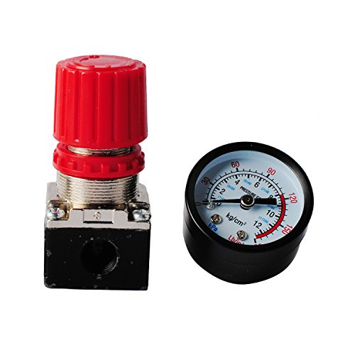Wadoy 140PSI Air Compressor Pressure Regulator Gauge with Industrial Interchange Air Fitting- 1/4 Inch NPT Male Quick-Connect Coupler & Plug (Regulator and Gauge)