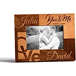 Personalized Valentine's day gift customized wood photo frame you & me 4x6 Vertical