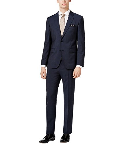 Hugo Boss Mens Slim Tonal Grid Two Button Suit Blue 42x38 Hugo Boss Two Button Suit