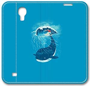 Whale Wave Animal Illust Art Sea S4 Case, Samsung Galaxy S4 I9500 Case, Leather Cover for Samsung Galaxy S4 / S 4/ S IV