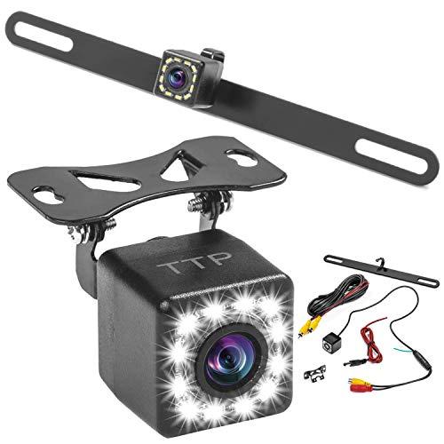 Car Backup Camera, Rear View Camera HD 12 LEDs Night Vision Reverse Camera 170° Viewing Angle, Easy to Install License Plate Back up Car Camera Or Bracket Mount Reversing Camera