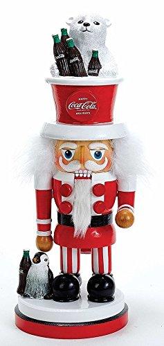 Kurt Adler Coca-Cola Hollywood Nutcracker with Polar Bear Hat, 15-Inch