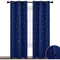 "NICETOWN Starry Blackout Curtains for Kids - Star Themed Grommet Top Thermal Insulated Child Window Draperies with Die Cut Stars for Nursery & Home Theater & Living Room, 42"" Inches Width, Navy Blue"