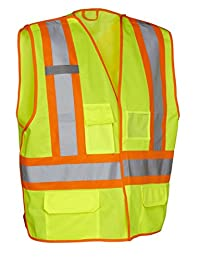 5-Point Tear-Away Hi Vis Traffic Safety Vest, Tricot Polyester, 3 Sizes