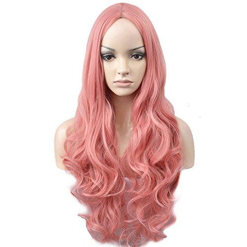 BERON Long Wavy Charming Full Synthetic Wigs for Women Girls Natural Curly Wigs with Wig Cap (Pink)