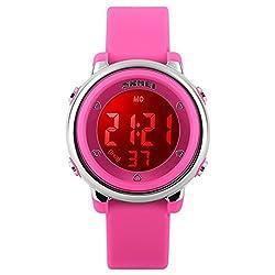 BesWLZ Digital Outdoor Sports Kids LED Alarm Stopwatch Children's Dress Wristwatches for Boys Girls Pink
