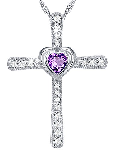 Gift Necklace Love Heart God Jewelry Sterling Silver Purple Amethyst Anniversary Gift for Her for Mom for Wife - Birthstone February Cross