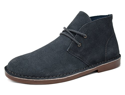 Bruno Marc Men's Francisco-High Grey Suede Leather Chukka Desert Oxford Ankle Boots - 8 M US by BRUNO MARC NEW YORK
