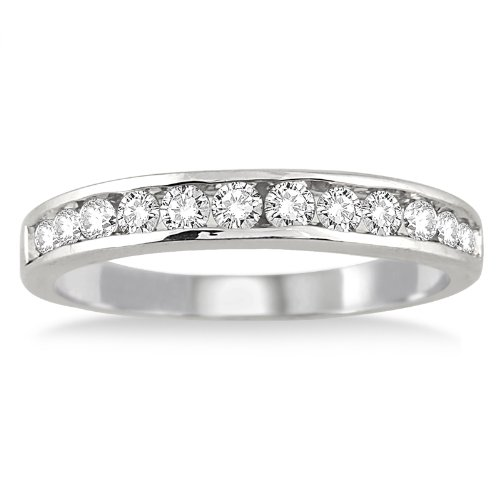 AGS Certified 1/2 Carat TW Channel Set Diamond Band in 10K White Gold - Wide Diamond Band