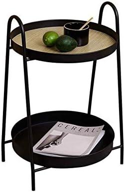 安定した コーヒーテーブルクリエイティブラウンドサイドテーブル、シンプルなリビングルームのソファ小さな丸いテーブルアイアンダブルサイドテーブル ファッション