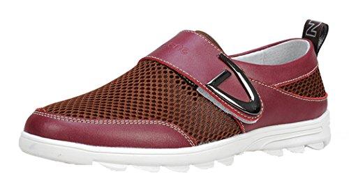 Serene Christmas Mens Mesh Velcro Casual Sneakers Slip On Moccasin Loafer(9 D(M)US, Claret)
