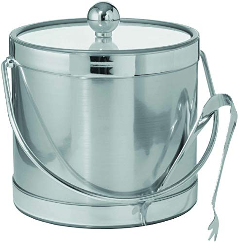 (Hand Made In USA Brushed Silver Print Double Walled 3-Quart Insulated Ice Bucket With Bonus Ice Tongs)