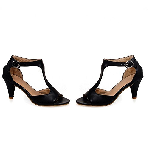 FANIMILA Mujer Moda Correa En T Punta Abierta Heel Sandalias Comodo Tacon Embudo Zapatos Negro