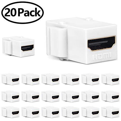 MOERISICAL HDMI Keystone Jack, 20 Pack HDMI Keystone Insert Female to Female Coupler Adapter (20 Pack, White) ()