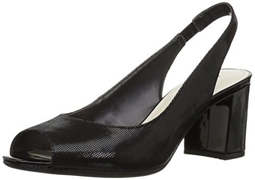 Anne Klein Women's Maurise Peep Toe Sling-Back Pump, Black Fabric, 7 M US