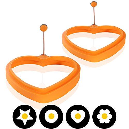 Amazy Silikon Spiegeleiform (2er Set) - Die lustige Frühstücksidee bringt Ihre Spiegeleier und Pfannkuchen in die perfekte Form (Herz)