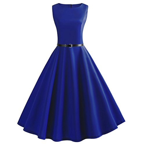 Sleeveless O Neck Evening Vintage Gown Party Prom Swing Dress ()