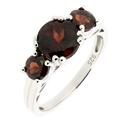 Sterling Silver Round Cut Natural Mozambique Garnet 3 Stones Statement Ring (3.7 CT.T.W) ()