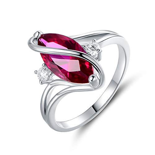 Barzel Rose Gold & White Gold Plated White Fire Opal Created & Cubic Zirconia Accents Ring (White Gold Ruby, 6)
