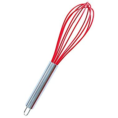 StarPack Premium Silicone Whisk with Heat Resistant Non-Stick Silicone - Bonus 101 Cooking Tips (Cherry Red)