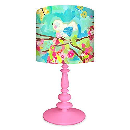 Oopsy Daisy NB14925 Cherry Blossom Birdies on Resin Pink Base Table Lamp, 11