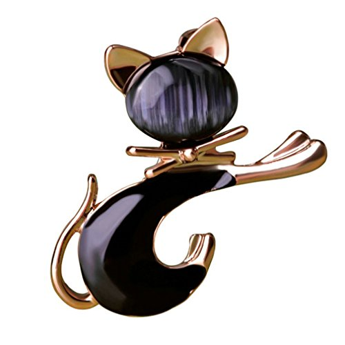 Cat Swarovski Collars (Insect Jewelry Cute Black Tie Cat Brooch Smooth Artificial Opals Corsage For Women Collar Hats White Pins Girls Gifts black)