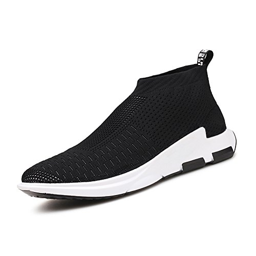 KONHILL Herren leichte Casual Walking High Top Söckchen Schuhe Breathable Knit Sneaker 896 Schwarz