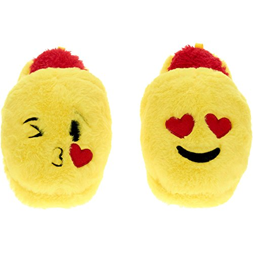 Emoji Girls Slipper Slip On LaughTears Face Faux Fur (M 13-1 Big Kid, Love Kiss Yellow)