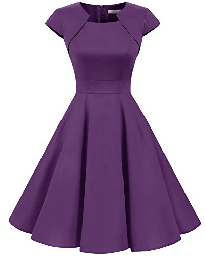 Homrain Women's 1950s Retro Vintage A-Line Cap Sleeve Cocktail Swing Party Dress Purple M