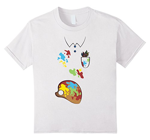 Kids Artist Costume T-Shirt for Halloween Painter Cosplay Tee 6 White - Painter Costume For Kids