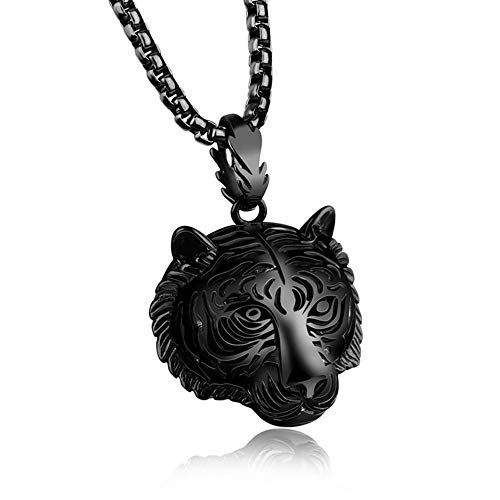 Goddesslili Classic Minimalist Stainless Steel Men Pendant Necklace of Animal Tiger Exterior Chain 60CM Jewelry Sets for Girls, Anniversary Easter Present for Wife, Aunt, Nana, - Exterior Pendant Classic
