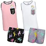 dELiAs Girls 4-Piece Pajama Short Set with Fun Prints and Animal Pocket (2 Full Sets), Unicorn, Size 14/16'
