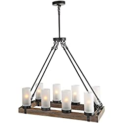 LNC A02988 Wood Kitchen 8 Chandelier Pendant Island Light fixtures, Black