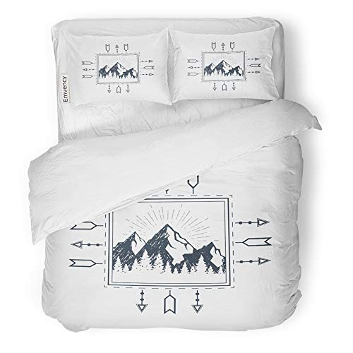 Emvency 3 Piece Duvet Cover Set Brushed Microfiber Fabric Breathable Adventure Travel Badge with Mountain Range and Pine Trees Arrows Authentic Bedding Set with 2 Pillow Covers Full/Queen Size -