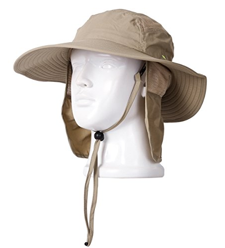 (Thenice Tropic Hats Wide Brim Summer Outdoor Cap with Neck Flap (Adventure khaki))