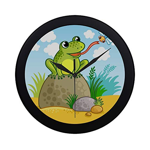 NQEONR Modern Simple Welcome to My Pad Froggie Dragonfly Pattern Wall Clock Indoor Non-Ticking Silent Quartz Quiet Sweep Movement Wall Clcok for Office,Bathroom,livingroom Decorative 9.65 Inch