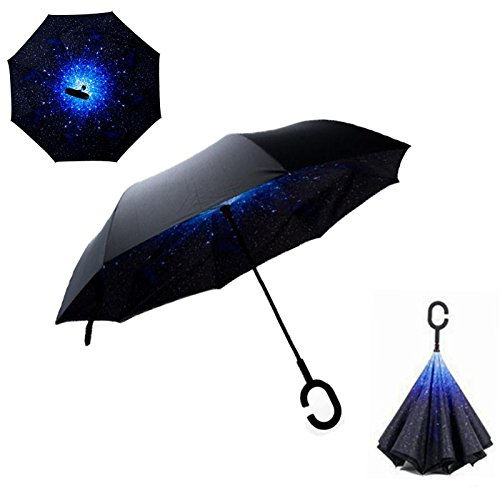 Amazon.com: HOMEIC Folding Reverse Umbrella Double Layer Inverted Windproof Rain Car Umbrellas Stars: Garden & Outdoor