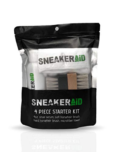 SneakerAid 4 Piece Starter Kit | Sneakers Cleaning and Conditioning Kit | 4oz Shoe Serum, Soft Horsehair Brush, Hard Horsehair Brush, and Microfiber Towel | Natural Ingredients and Safe for All Shoes