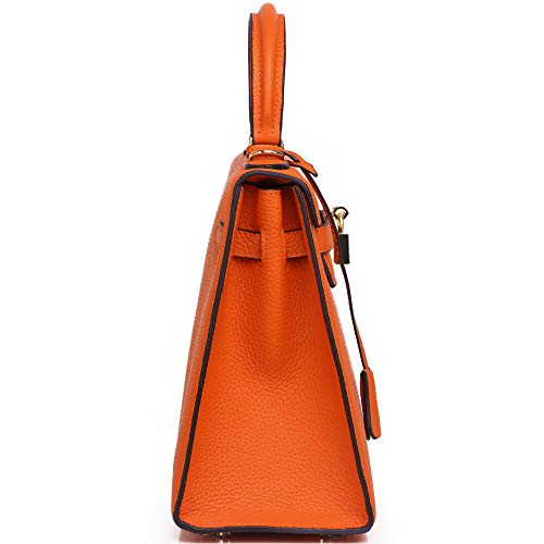 for Orange With handbags Womens Gold Hardware Designer Bag Padlock Top Kueh 7EqxPBw7