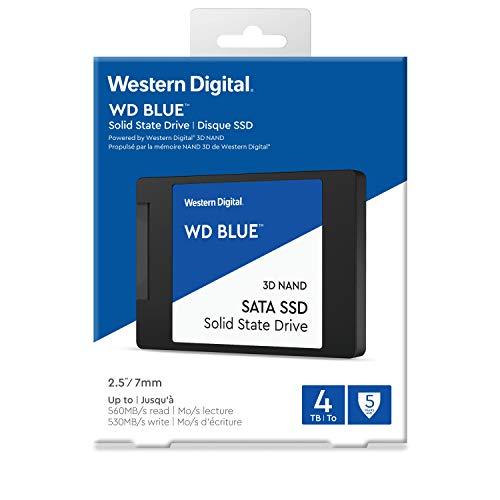 """Western Digital 4TB WD Blue 3D NAND Internal PC SSD - SATA III 6 Gb/s, 2.5""""/7mm, Up to 560 MB/s - WDS400T2B0A"""