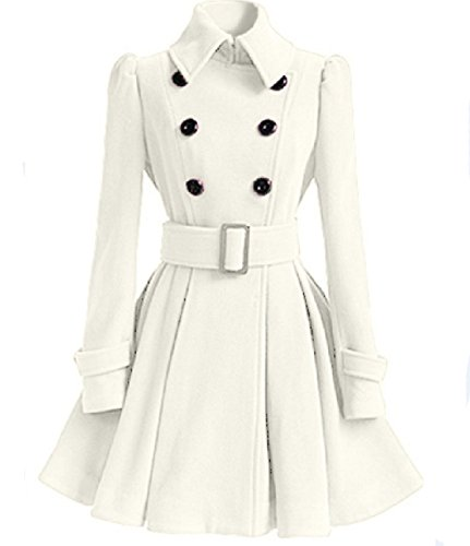 Dongkuan Cinturones Chaqueta Cruzada Abrigo De Lana Falda Capa Mujer Multicolor Opcional White
