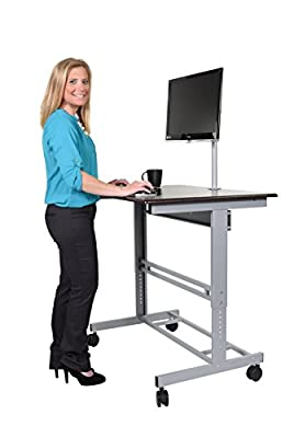 Mobile Adjustable Height Stand Up Desk with Monitor Mount