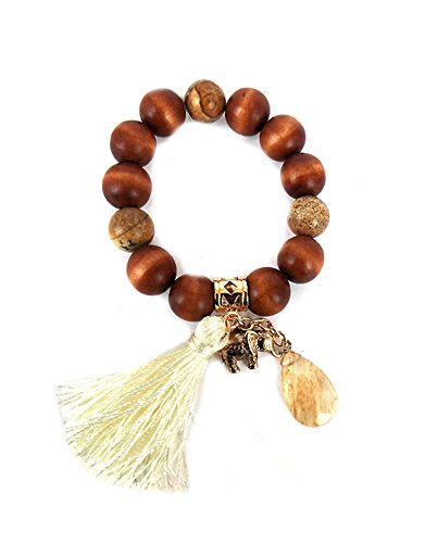ARIS Genuine Wood Good Luck Elephant Spiritual Beaded Stretch Bracelet