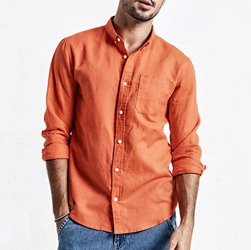 Mens Summer Button Up Casual Shirt, Solid Linen and Cotton Long Sleeve Top Pocket Oxford Shirt Orange