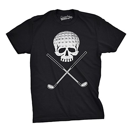 Retro Sport Vintage Tees - Crazy Dog T-Shirts Mens Golf Jolly Roger Funny T Shirts Sport Cool Vintage Retro Tees Hilarious T Shirt (Black) -XXL