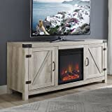 New 58 Inch Barn Door Fireplace Television Stand - White Oak Color