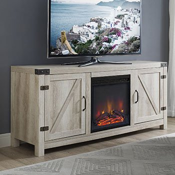 New 58 Inch Barn Door Fireplace Television Stand - White Oak Color by Home Accent Furnishings