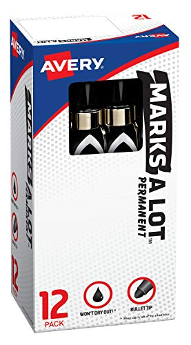 Avery Marks-A-Lot Permanent Markers, Large Desk-Style Size, Bullet Tip, 12 Black Markers