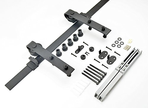 Diyhd 6FT Soft Close/Soft Open Rustic Black Sliding Barn Door Hardware Track Kit (6ft-two side softclose) by DIYHD