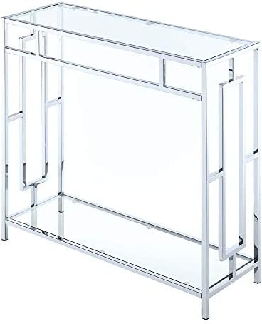 Convenience Concepts Town Square Chrome Hall Table, Clear Glass Chrome Frame